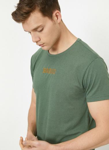 Koton Bisiklet Yaka Dar Kesim Baskılı T-Shirt Yeşil